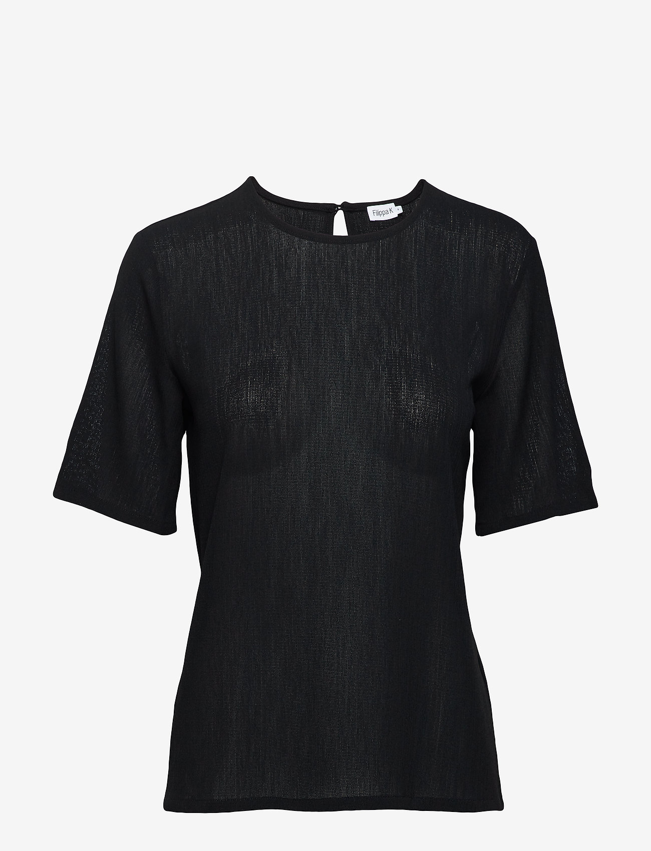 Filippa K - Mesh Tee - t-shirts - black - 0