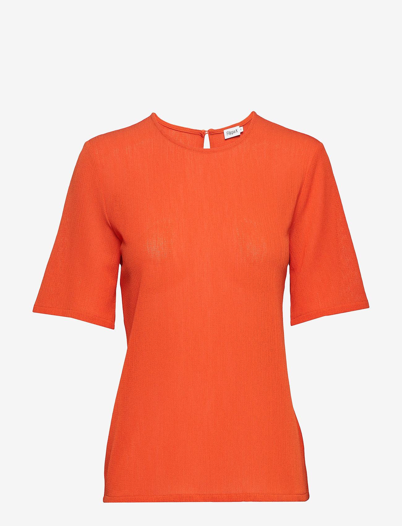 Filippa K - Mesh Tee - t-shirts - tangerine - 0