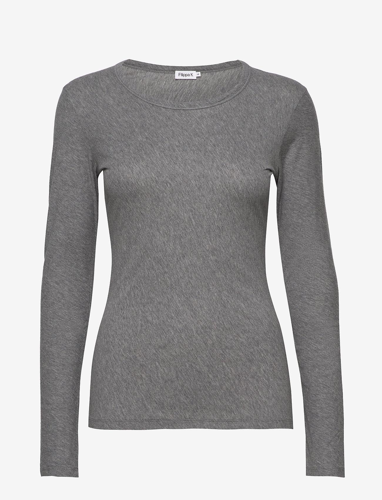 Filippa K - Hannah Top - basic t-shirts - grey melan - 0