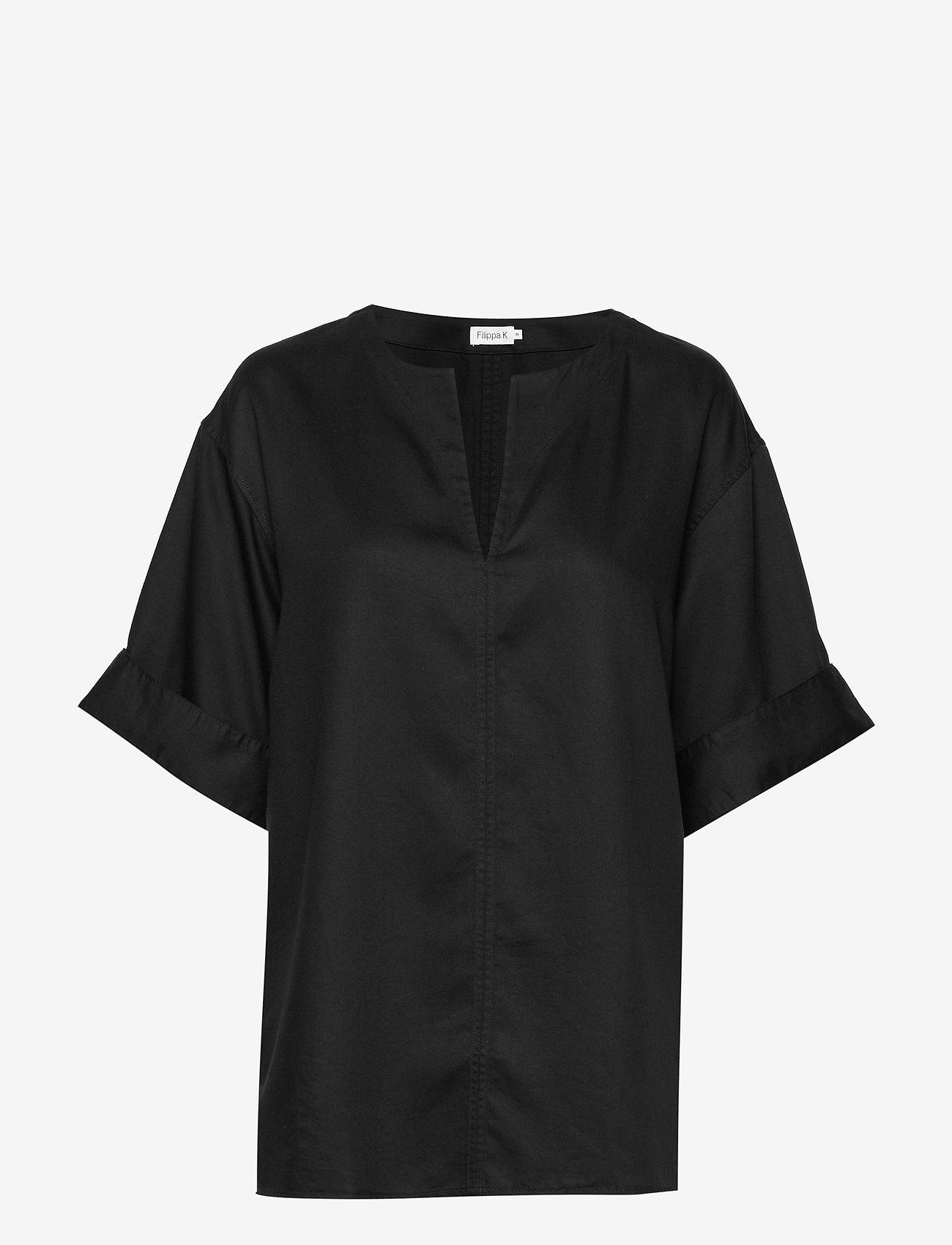 Filippa K - Flora Blouse - blouses med korte mouwen - black - 0