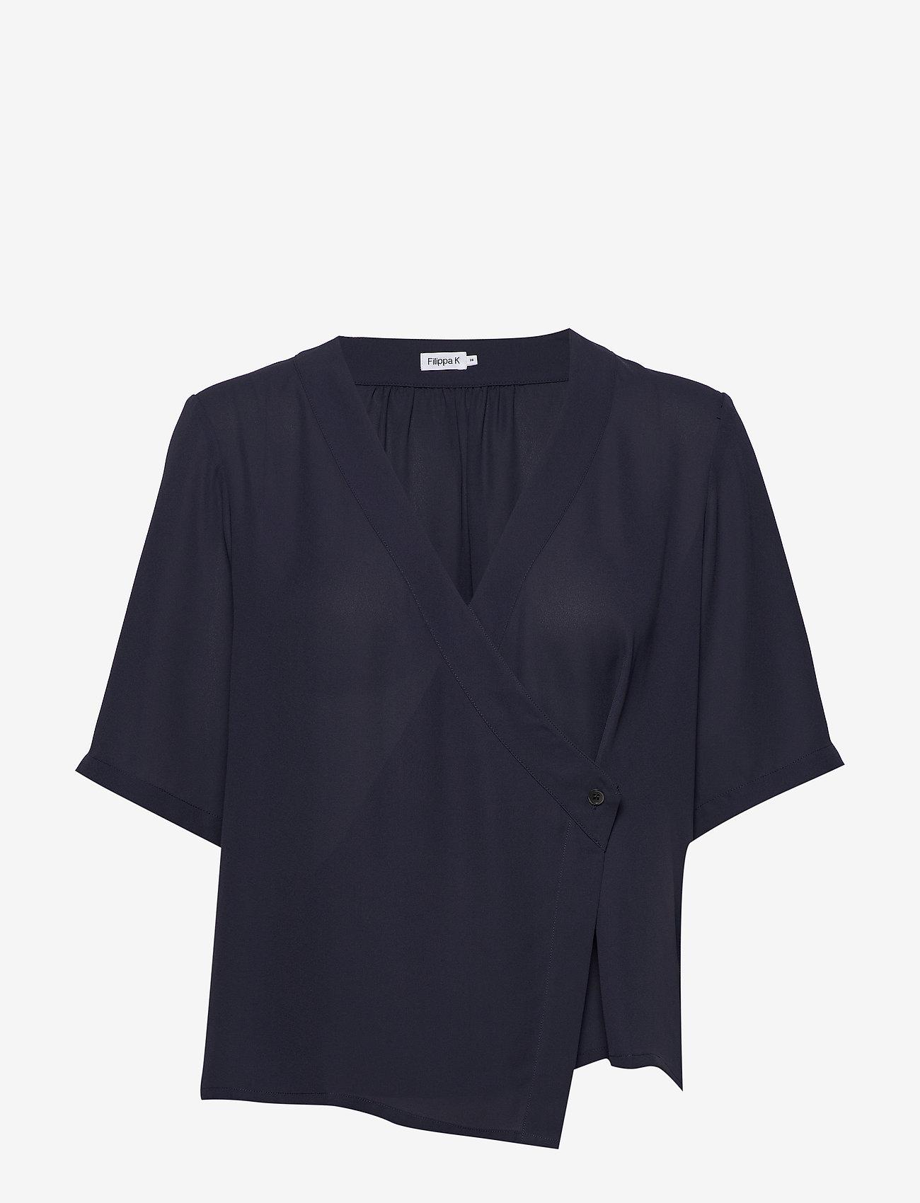 Filippa K - Reagan Blouse - blouses med korte mouwen - ink blue - 0