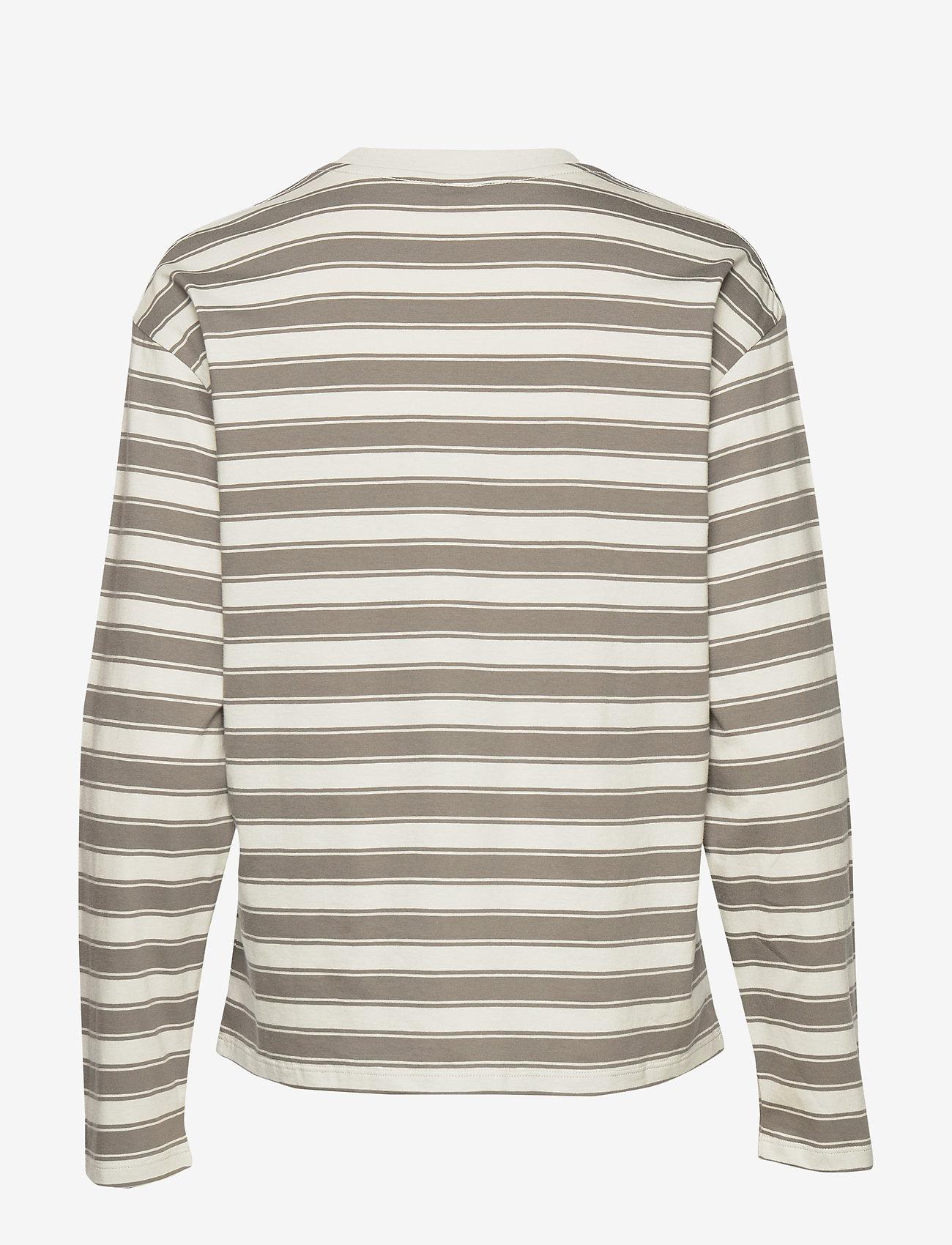 Filippa K - Linnett Top - stribede t-shirts - green grey - 1