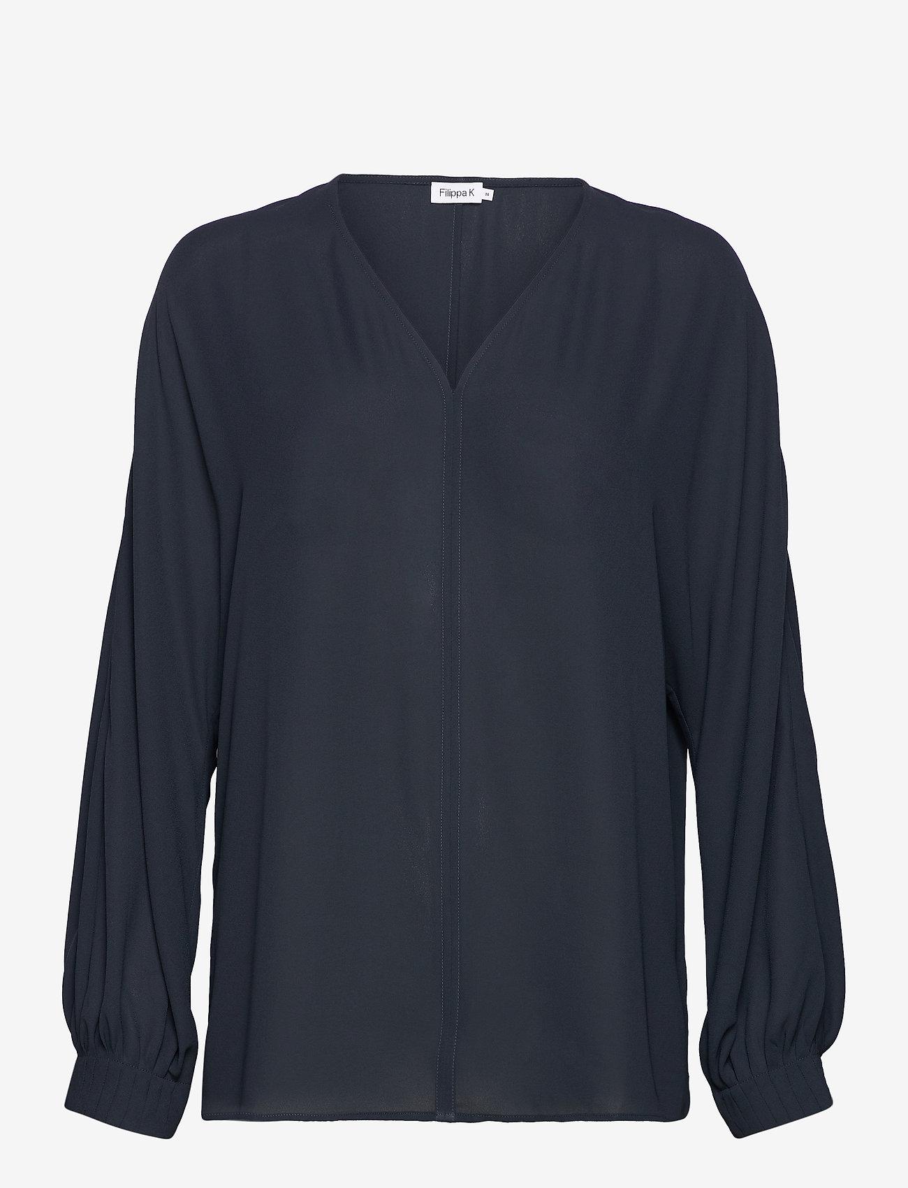 Filippa K - Riley Blouse - long sleeved blouses - pacific bl - 0