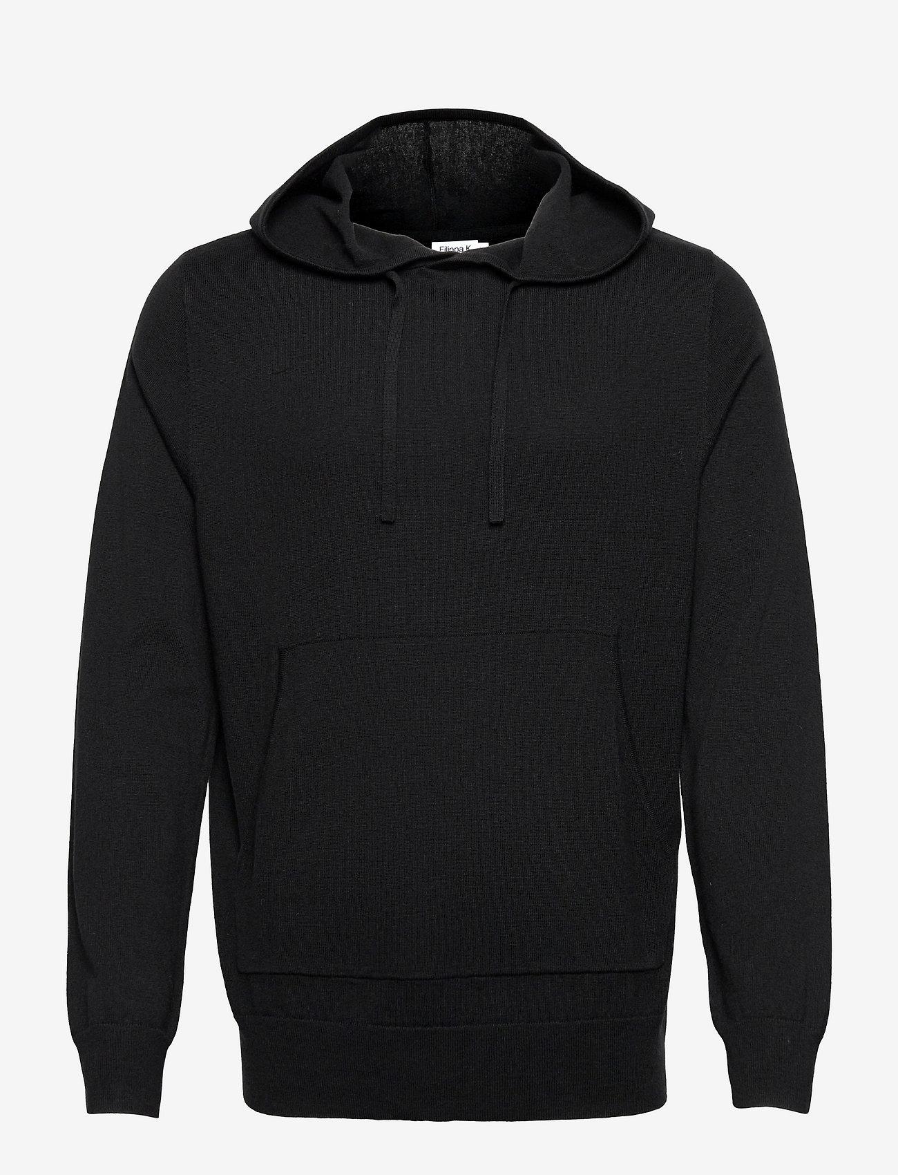 Filippa K - M. Arthur Knitted Hoodie - hoodies - black - 0