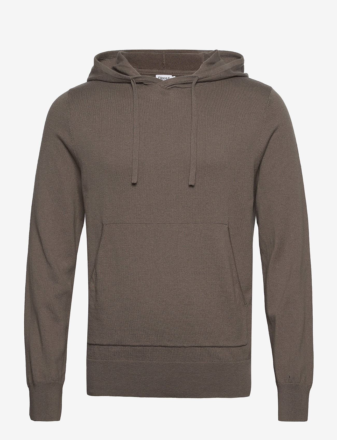 Filippa K - M. Arthur Knitted Hoodie - hoodies - dark taupe - 0