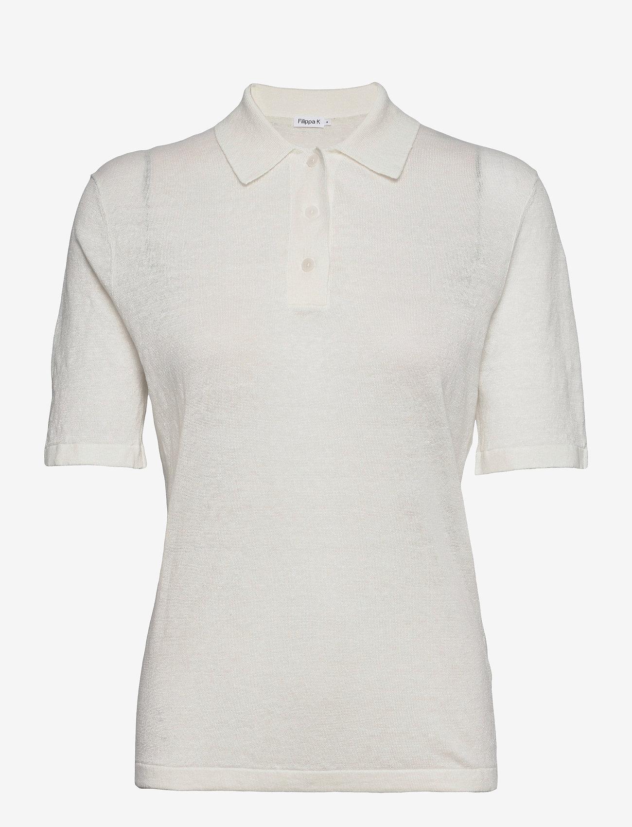 Filippa K - Angeline Knit Top - strikkede toppe - white chal - 0