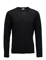 M. Fine Merino R-Neck Sweater - BLACK