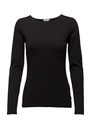 Fine Lycra R-neck Top - BLACK