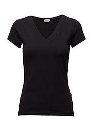 Fine Lycra V-Neck Top - BLACK