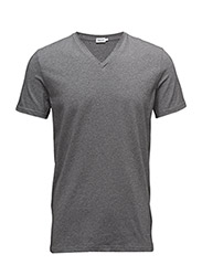 M. Soft Lycra V-Neck Tee - GREY MEL.