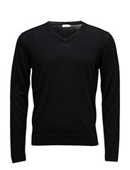 M. Fine Merino V-Neck - BLACK
