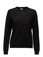 Merino R-neck Pullover - BLACK