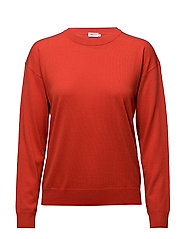 Merino R-neck Pullover - POPPY
