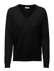 Merino V-Neck Pullover - BLACK