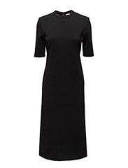 Fitted Mid-sleeve Dress - BLACK