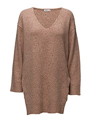 Cash Tweed V-Neck Pullover - ALMONDINE