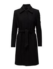 Iza Wool Belt Coat - BLACK