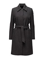 Iza Wool Belt Coat - GREY MEL.