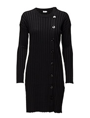 Button Tunic Dress - BLACK