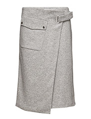 Wrap Pocket Wool Skirt - LIGHT GREY
