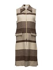 Hollie Block Stripe Vest Coat - NOUGAT STR