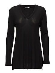 Deep V Jersey Blouse - BLACK