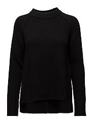 Slit R-Neck Pullover - BLACK