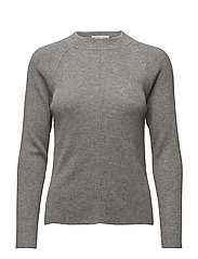 Open Back Rib Sweater - GREY MEL.