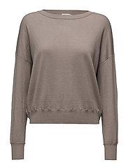 Cropped Silk Mix Pullover - MUSHROOM