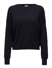 Cropped Silk Mix Pullover - NAVY
