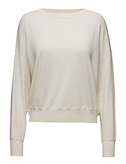 Cropped Silk Mix Pullover - OFF WHITE