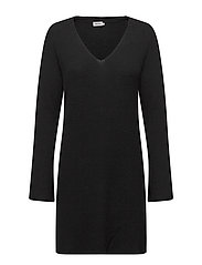 Ribbed Wool Mix Tunic - BLACK