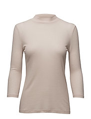 3/4 Sleeve Mock Neck - PEBBLE