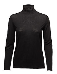 Tencel Polo Neck Top - BLACK