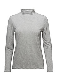 Tencel Polo Neck Top - GREY MEL.