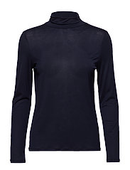 Tencel Polo Neck Top - NAVY