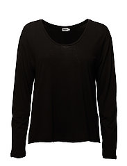 Scoop Neck Long Sleeve Top - BLACK