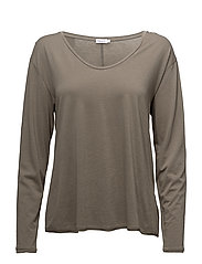 Scoop Neck Long Sleeve Top - KHAKI GREE