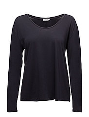 Scoop Neck Long Sleeve Top - NAVY