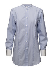 Striped Band Collar Long Shirt - WHITE/BLUE