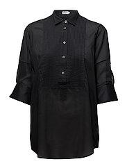 Pintuck Tuxedo Shirt - BLACK
