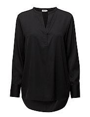 Pull-on Silk Blouse - BLACK
