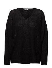 Linen V-neck Sweater - BLACK