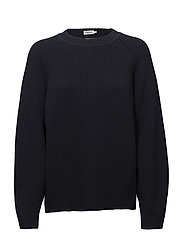 Sculptural Cotton Sweater - NAVY