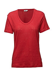 Linen Scoop Neck Tee - ROUGE