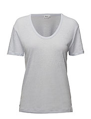 Linen Scoop Neck Tee - SKYLIGHT