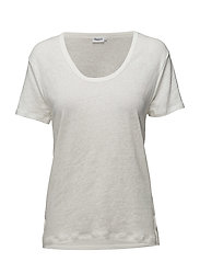 Linen Scoop Neck Tee - WHITE