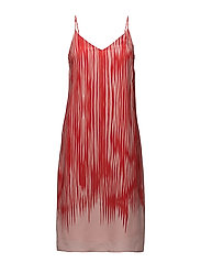 Strappy Print Dress - RED ABSTRA
