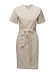 Belted Wrap Dress - BONE