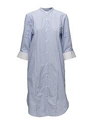 Cotton Striped Shirtdress - WHITE/BLUE